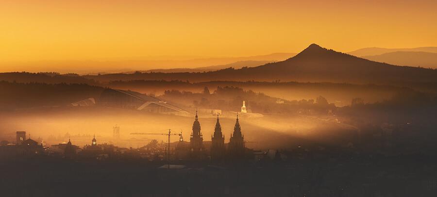 Pico Sacro atardecer torres Catedral de Santiago