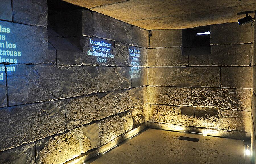 interior del Templo de Debod proyecciones audiovisuales
