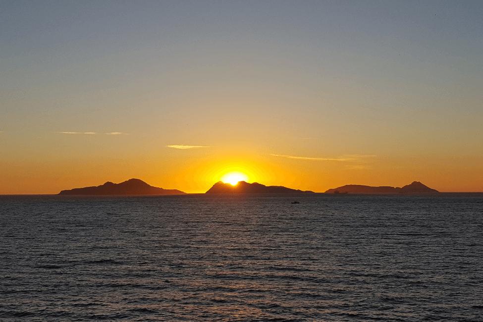 Islas Cies puesta de sol