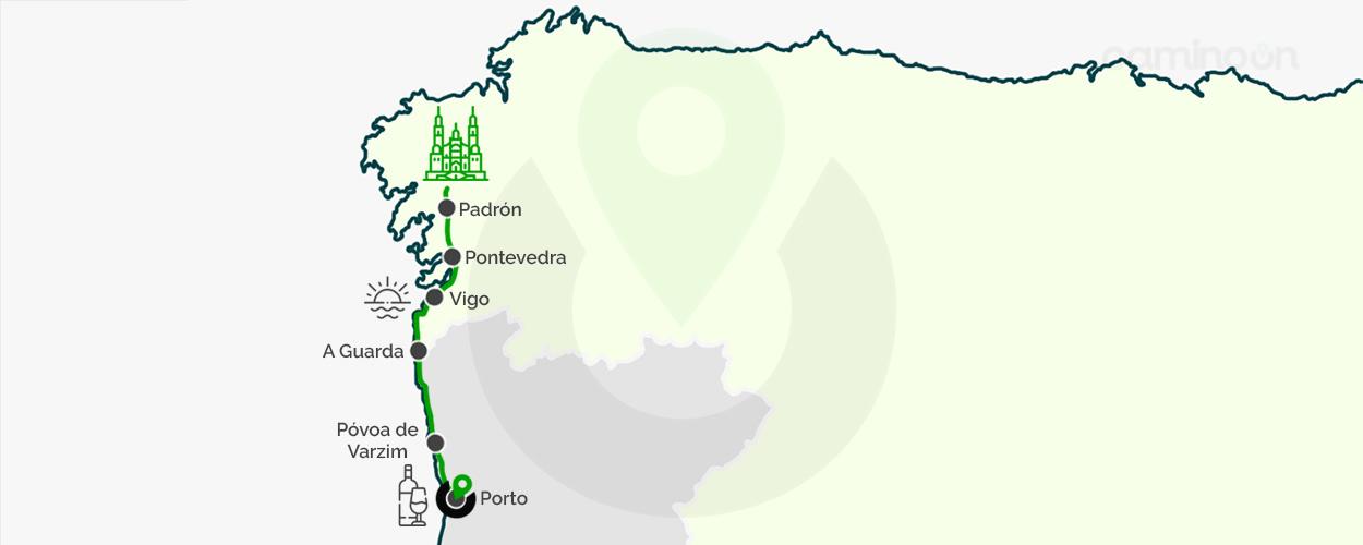 Camino portugues por la costa mapa